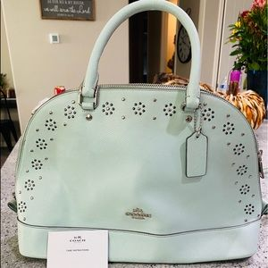 PASTEL MINT GREEN COACH BAG WITH STUDS